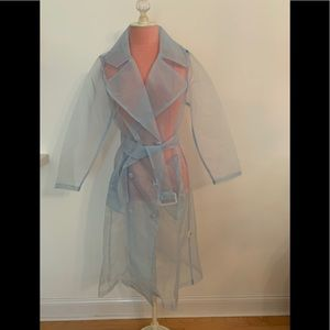 Organza light blue trenchcoat with belt